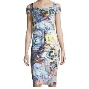 Nicole Miller Dress Size 14 Cold Shoulder Seamed